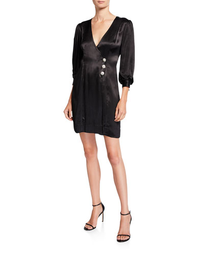 Heavy Satin 3/4-Sleeve Wrap Dress