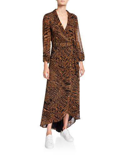 Tiger-Print Georgette Long-Sleeve Wrap Dress