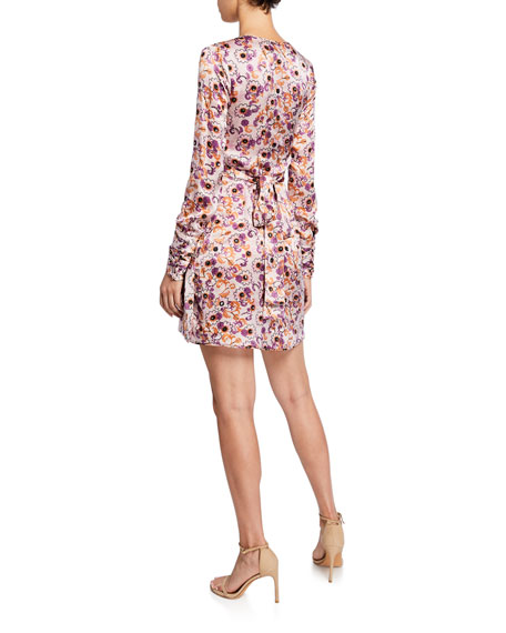 Kari Floral Long-Sleeve Mini Wrap Dress