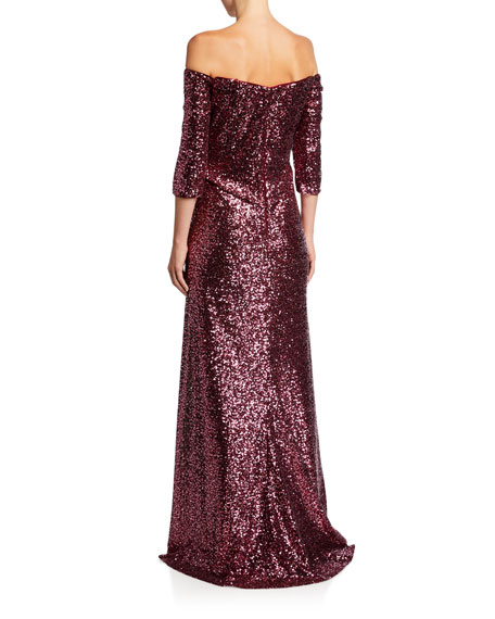 Sequin Off-the-Shoulder 1/2-Sleeve Gown with Slit