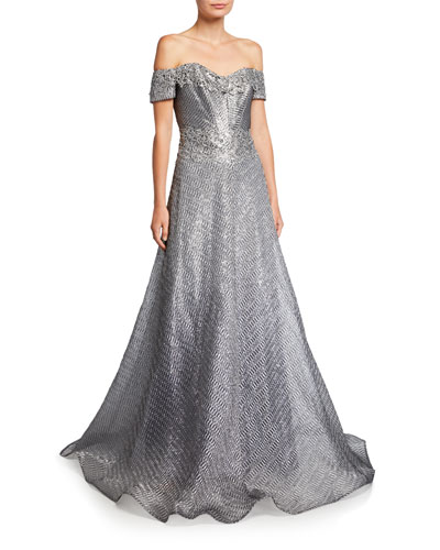 Off-the-Shoulder Short-Sleeve Gown