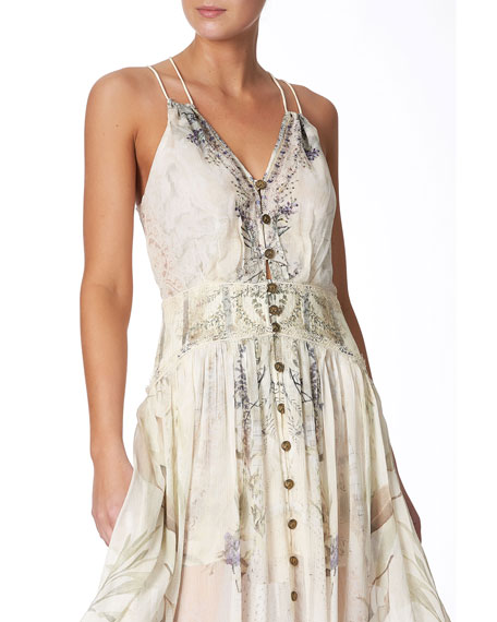Strappy Button-Front Dress with Shaped Waistband