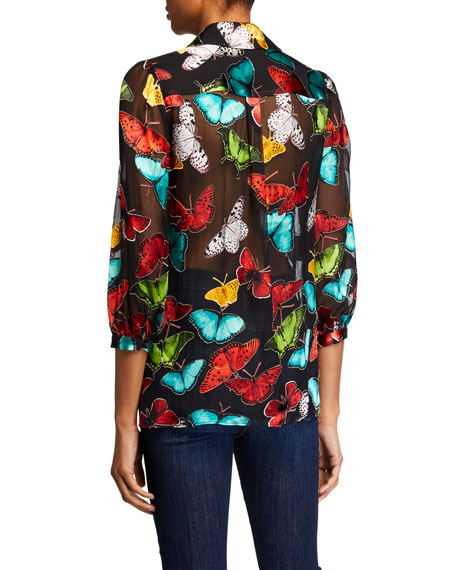 Sheila Butterfly Blouson-Sleeve Button-Front Top