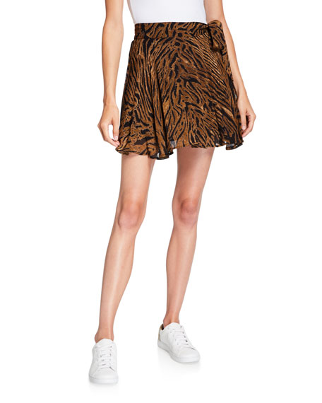 Tiger-Print Georgette Wrap Skirt