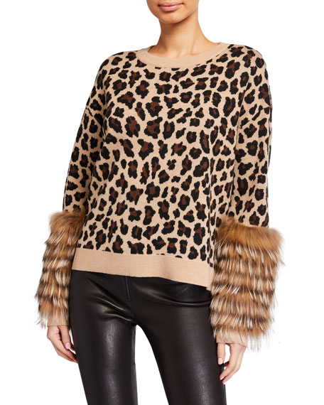 Image 1 of 1: Shiela Leopard-Print Pullover with Fur Cuffs