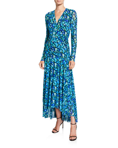 Printed Mesh Long-Sleeve Wrap Dress
