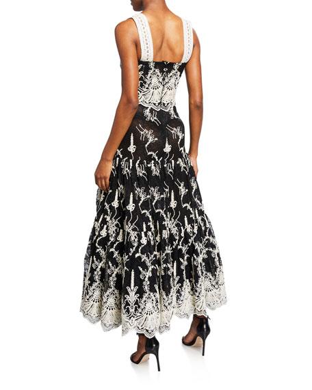 Karolina Two-Tone Sleeveless Embroidered Lace Dress