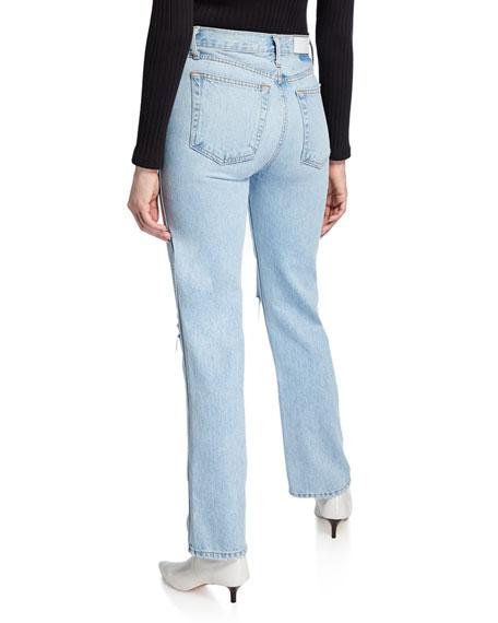 High-Rise Distressed Rigid Straight-Leg Jeans