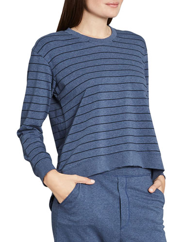 Graceful Lightweight Striped French-Terry Sweatshirt