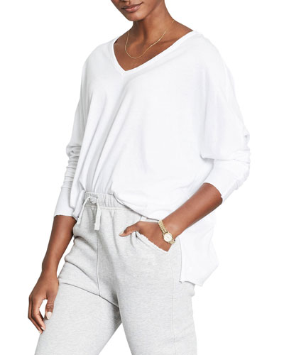 Deep V-Neck Long-Sleeve Essential Jersey Tee