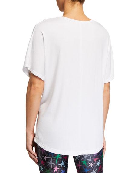 Ribbed V-Neck Short-Sleeve Top, White
