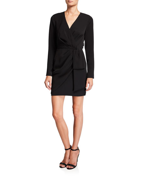 Meyer Long-Sleeve Mini Surplice Dress