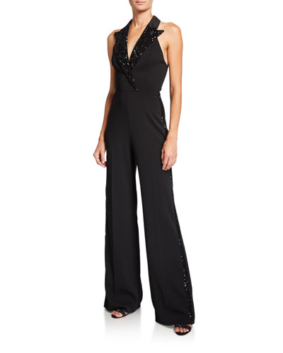 Pierce Halter Tux Jumpsuit with Sequin Lapels & Side Stripes