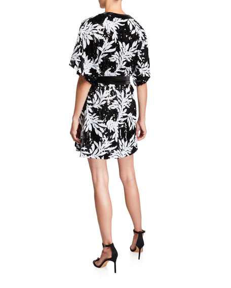 Lanai Sequin Floral Elbow-Sleeve Kimono Wrap Dress