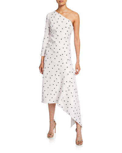 Cosima Printed One-Shoulder Asymmetric Midi Dress