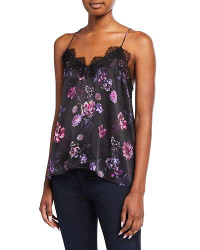 The Racer Charmeuse Floral-Print Cami