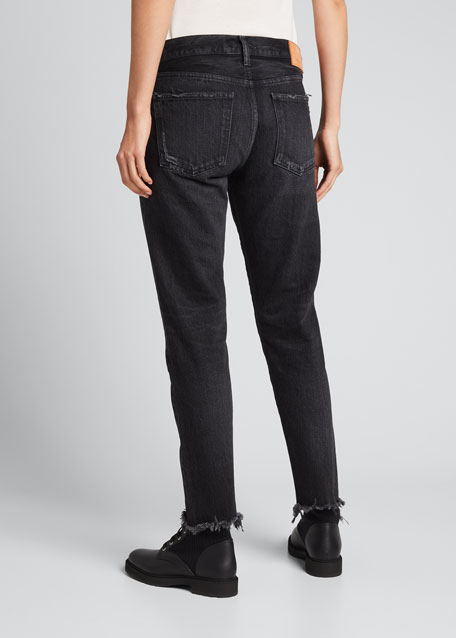 Staley Tapered Ankle Jeans with Shredded Hem