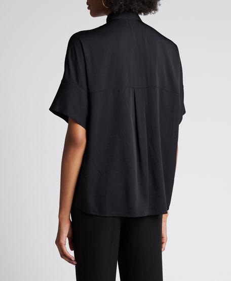 Short-Sleeve Button-Down Stretch Silk Blouse