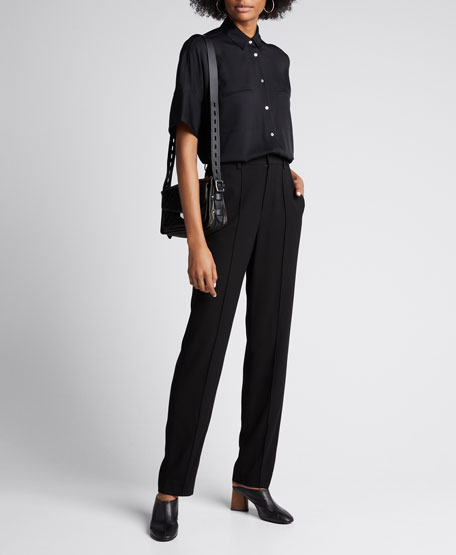 Image 1 of 1: Short-Sleeve Button-Down Stretch Silk Blouse