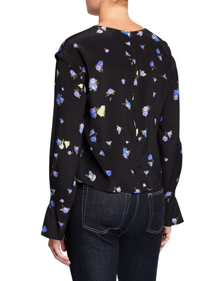 Floral Long-Sleeve Silk Blouse