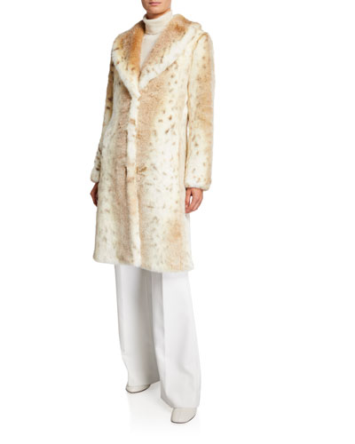 Snow Lynx Long Faux-Fur Coat