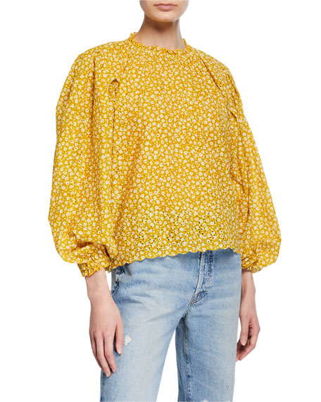 The Chime Eyelet Floral Blouson-Sleeve Top