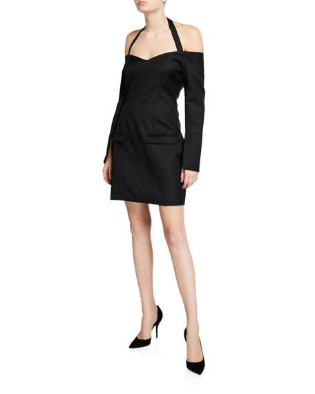 Nina Tailored Off-Shoulder Cocktail Dress