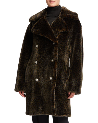 Leopard Faux Fur Cold Solider Coat