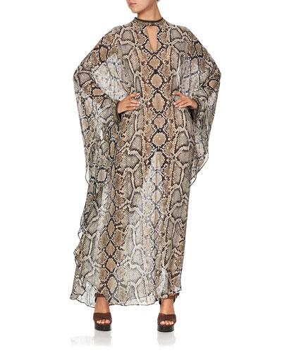 Stand-Collar Embellished Snake-Print Kaftan