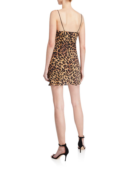 Harmony Leopard Cowl-Neck Mini Slip Dress