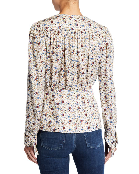 Lucille Printed Long-Sleeve V-Neck Top