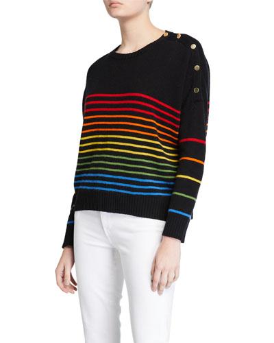 Rainbow Stripe Button Sweater