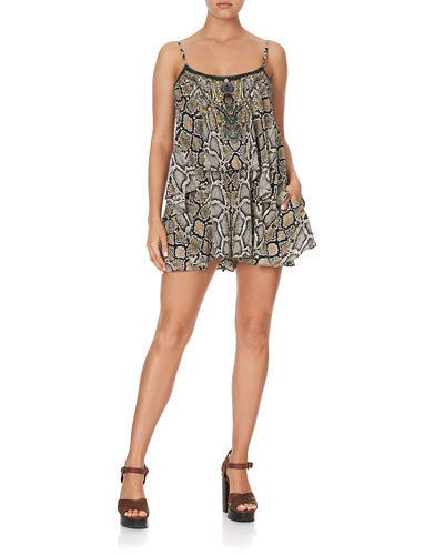 Printed Flare Romper with Overlay