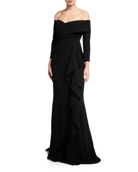 Off-the-Shoulder 3/4-Sleeve Side Draped Crepe Gown
