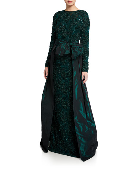 Image 1 of 1: Long-Sleeve Soutache Lace Taffeta Over-Skirt Gown