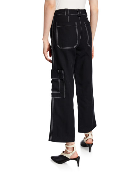 Slim Denim Cargo Pants with Contrast Stitching
