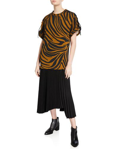Tiger-Striped Tie-Sleeve Pleated Dress