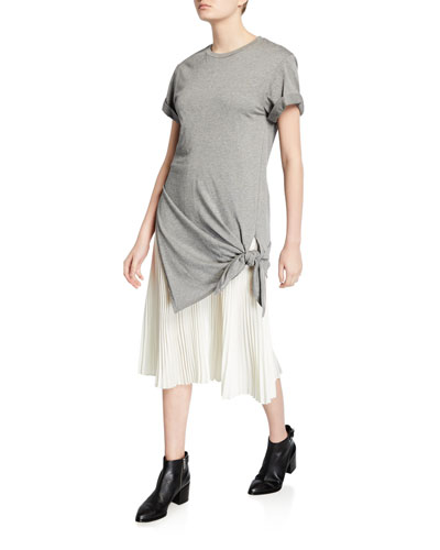 Side-Tie Crewneck Tee Dress with Pleating