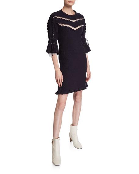 Knitted Lace Scalloped Mini Dress
