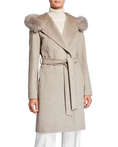 Fox-Trim Hooded Virgin Wool Wrap Coat