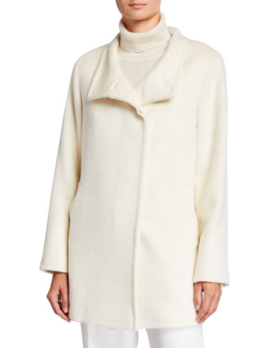 Relaxed Car Coat  White