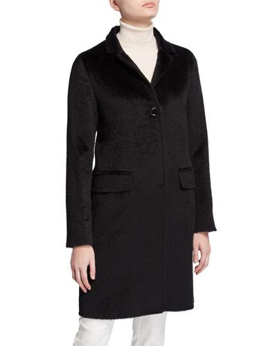 Walker Single-Breasted Pea Coat  Black
