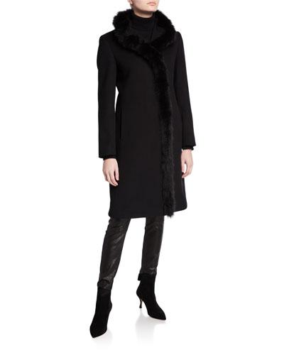Fox-Trim Long Virgin Wool Coat