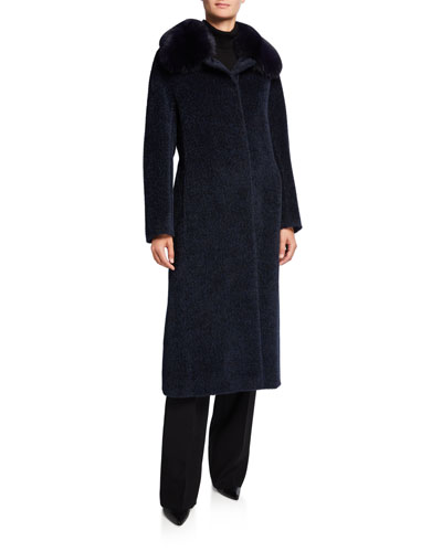 Fox Fur-Collar Long Coat