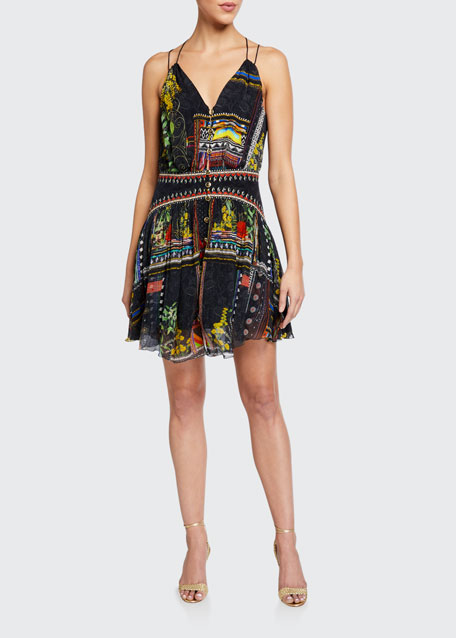 Strappy Printed Button-Front Dress w/ Shaped Waistband