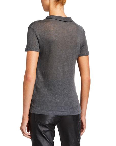 Wake High-Neck Short-Sleeve Linen Top