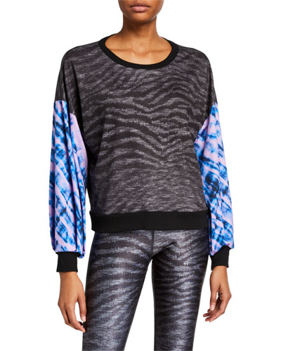 Show Your Stripes Printed Puff Sleeve Sweatshirt