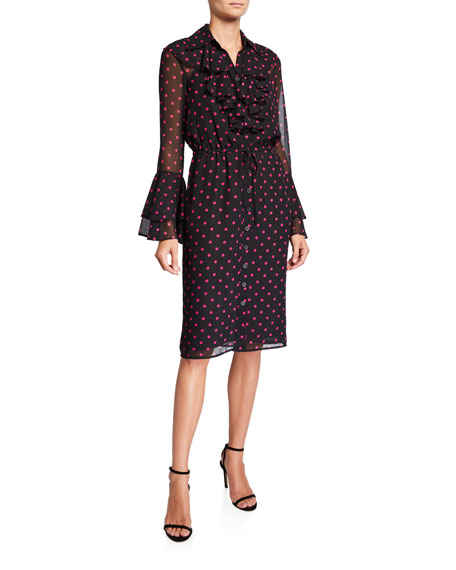 Image 1 of 1: Dot Jabot Long-Sleeve Ruffle-Trim Shirtdress