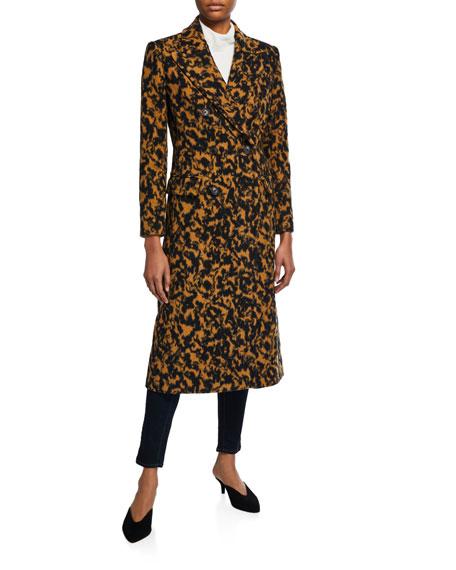 Elsa Leopard Double-Breasted Virgin Wool Coat