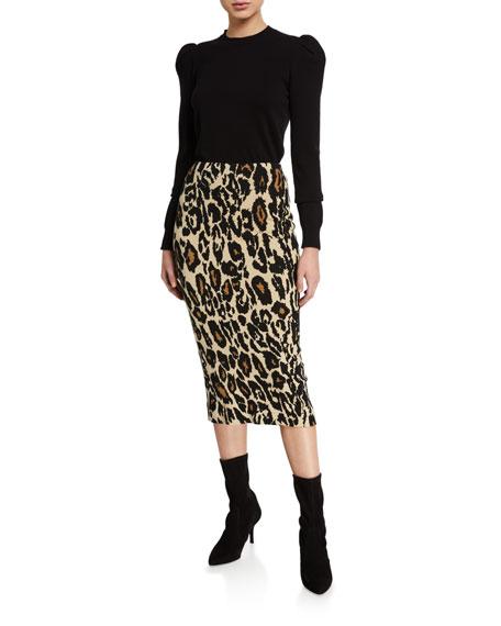 Kara Leopard-Print Midi Skirt